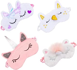 Biubee 4 Pack Soft Plush Unicorn Sleeping Mask- Cute Unicorn Horn Blindfold Eye Cover for Women Girls Kids Travel Nap Night Sleeping