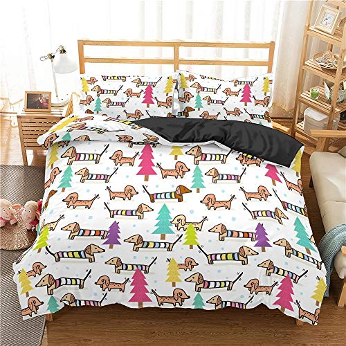 clothingZHY Bed Covers Double Set,Dachshund Bedding Set Duvet Cover Cartoon Animal Comforter Soft Twin Single Full Bed Linen Printing and Dyeing Duvet Cover and Duvet Cover Kit,Duvet