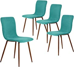 Coavas Set of 4 Dining Chairs Fabric Cushion Kitchen Chairs with Sturdy Metal Legs for Dining Room, Green SCAR-19