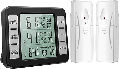 ORIA Thermomètre de Frigo Congelateur, Thermomètre de Réfrigérateur sans Fil avec 2 Capteurs, Alarme Sonore, Min/Max,...