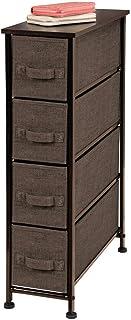 mDesign Cajonera de tela – Práctico mueble cómoda con 4 cajones – Estrecho sistema de almacenamiento para el dormitorio, la habitación o el lavadero – Armario con cajones – marrón café