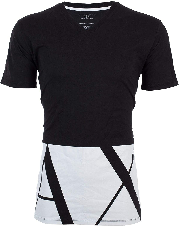 Armani Exchange 大好評です Hem Print Mens 高い素材 Premium Black T-Shirt O Designer