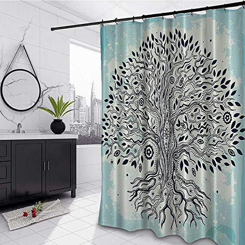 Abstract Art with Trees Decoration Tropical Shower Curtain 108' W x 72' L, Tree of Life Chinese Bonsai Roots Bohemian Hippie Evil Eye Beads Waterproof Cloth Polyester Bath Curtain, Aqua Black Beige