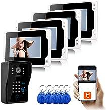 7 Inch Video Deurbel, Intercom, RFID Wachtwoord Home Security Video Deurtelefoon, 4 Monitor Display + 1080P Nachtzicht Camera