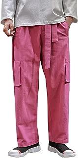 Mmnote Men's Retro Large Size Multi-Pocket Flax Broad-Legged Pants Harem Hip-Hop Trousers Sweatpants
