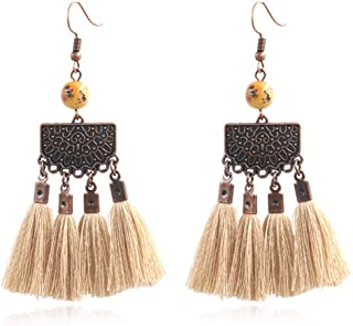 MAXSNOW Bohemian Tassel Drop Dangle Earrings for Women Gifts with Agate