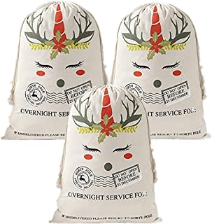 Santa Sacks Canvas Bags Reindeer Christmas Present Bags with Drawstring Blank Special Delivery Xmas Gift Bag Storage 19x27...