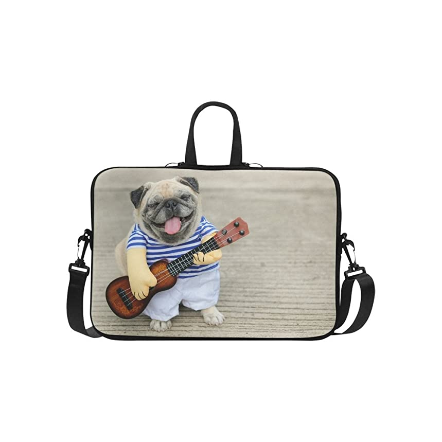 InterestPrint Funny Smiling Indy Musician Pug Dog Playing Guitar 15 15.6 Inch Waterproof Neoprene Laptop Sleeve Notebook Computer Case Shoulder Bag with Handle & Strap for MacBook Dell HP Woman Man