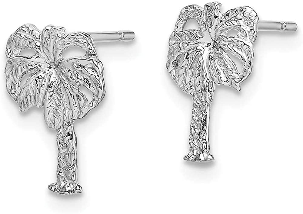 14k White Gold Palm Tree Post Stud Earrings Ball Button Outdoor Nature Fine Jewelry For Women Gifts For Her