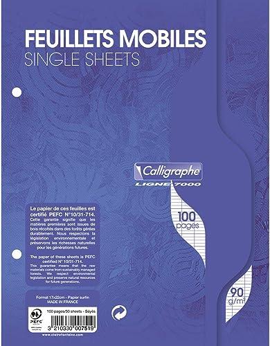 Calligraphe 751C - Un paquet de feuillets mobiles perforés (gamme 7000 de Clairefontaine) 100 pages 17x22 cm 90g gran...
