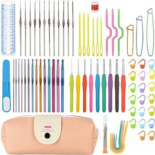 BeiLan 83Pcs Crochet Ensemble de Tricot Outils, Accessoires pour Aiguilles à Tricoter, Aiguilles Colorées et Ergonomiques ...