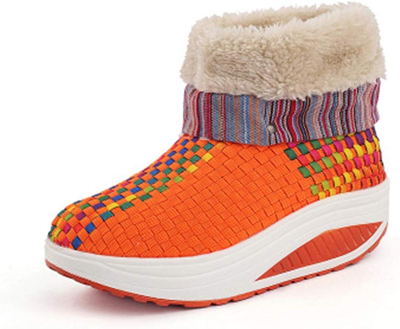 YUBUKE Suede Platform Sneaker shoes Plus Velvet Winter Women Lace Up Cotton Snow Boots