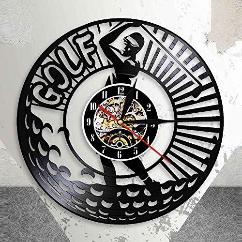 BFMBCHDJ Golf Silent Non Ticking 3D Schallplatte Wanduhr Sport Golf Club Vintage Schwarz Hängende Uhr Golfer Vintage Ornament Mit LED 12 Zoll