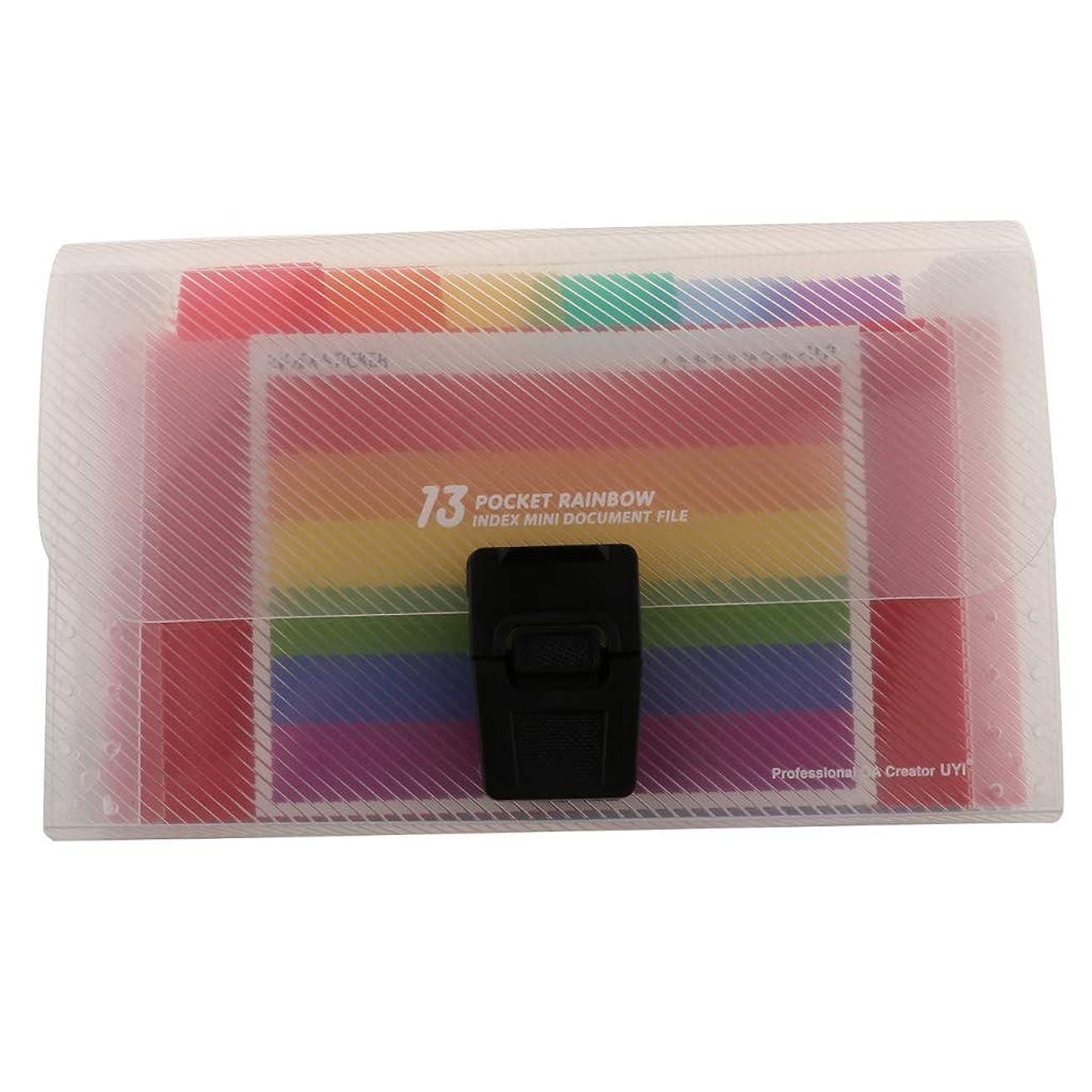 オゾンアプト乱気流P Prettyia ミニ A6 13ポケット ファイルフォルダー レシート カード オーガナイザーバッグ
