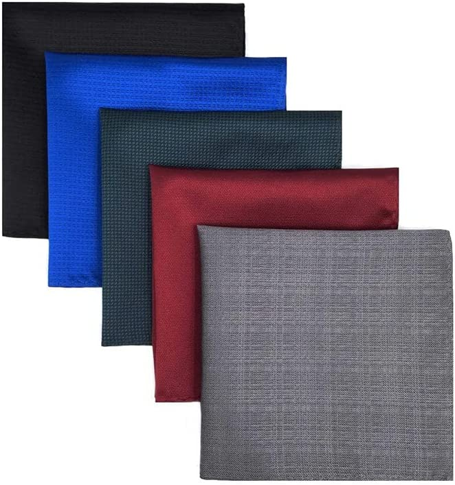 XQWLP 5 Pieces Colorful Assorted Mens Pocket Square Silk Classic Handkerchief Set Gift Colorful (Color : B)