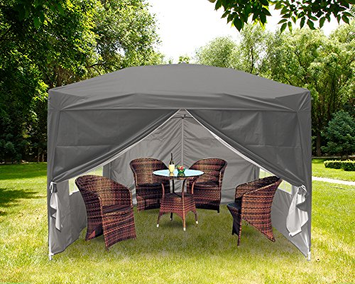 Greenbay 3x3M Anthracite Pop-up Gazebo with 4 Sidewalls and 4 Leg Weight Bags, Carrying Bag