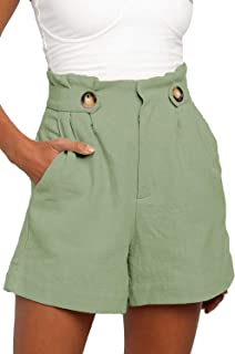 BLENCOT Women's Button Waist Summer Casual Linen Beach Shorts with Pockets