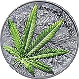 Power Coin Marijuana Cannabis Sativa Hoja Black Proof 1 Oz Moneda Plata 1000 Francos Benin 2021