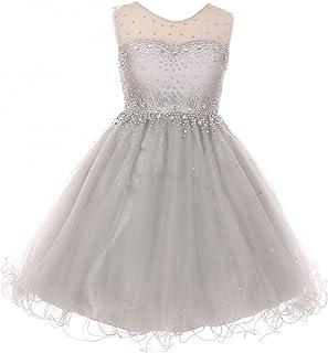 3daa56719 Sparkling Rhinestone Illusion Tulle Junior Bridesmaid Pageant Flower Girl  Dress