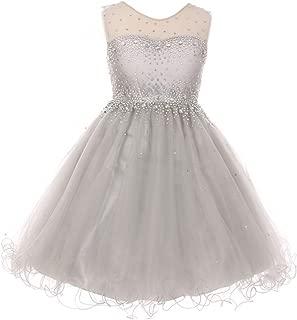 Sparkling Rhinestone Illusion Tulle Junior Bridesmaid Pageant Flower Girl Dress