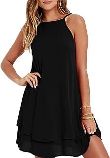 2c2ff863193 HGWXX7 Women Summer Casual Plus Size Solid Chiffon Strap Beach A-Line Mini  Dress