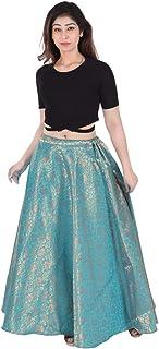 SNEH Women's Banarasi Silk Skirt (Blue, Free Size)