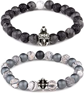 Karseer 2PCS Anxiety Relief Relationship Bracelets, 8mm Lava Rock Aromatherapy Essential Oil Diffuser Bracelet and Natural Matte Hematite Beaded Bracelet with Helmet Shield Charms for Couples or BFF