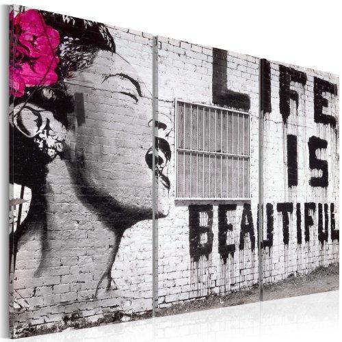 murando - Cuadro en Lienzo Banksy 90x60 cm - Impresión de 3 Piezas Material Tejido no Tejido Impresión Artística Imagen Gráfica Decoracion de Pared Street Art Woman Life is Beautiful 030115-3