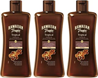 Hawaiian Tropic Tanning Oil SPF 0 - Aceite Bronceador Solar Sin Protección, Acelerador del Bronceado de la Piel, Fragancia Tropical, Pack 3 Unidades x 200 ml
