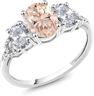 10K White Gold Diamond Accent 3-Stone Engagement Ring set with 2.05 Ct Oval Peach Morganite White Topaz (Available 5,6,7,8,9)