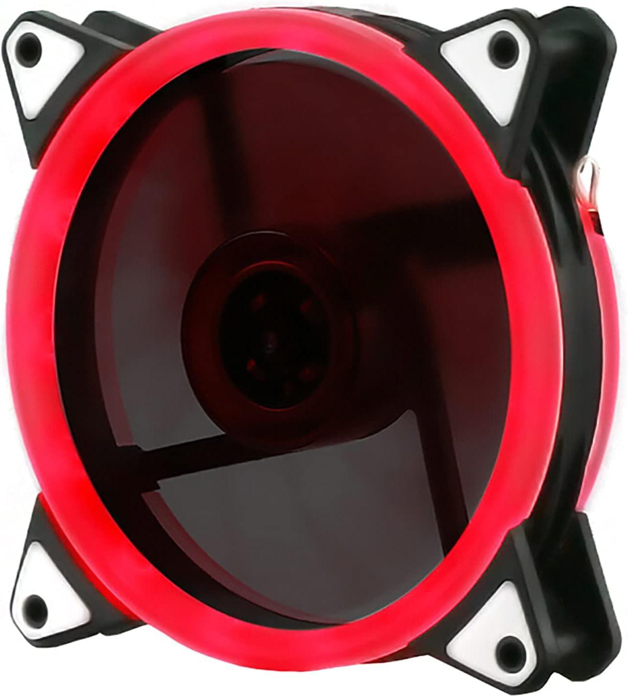 Ventilador De Chasis Silencioso Alto Volumen De Aire 12Cm RGB Light Pc Ventilador De Refrigeración del Hogar Cambio De Color Interno Y Externo Aurora Symphony Rojo