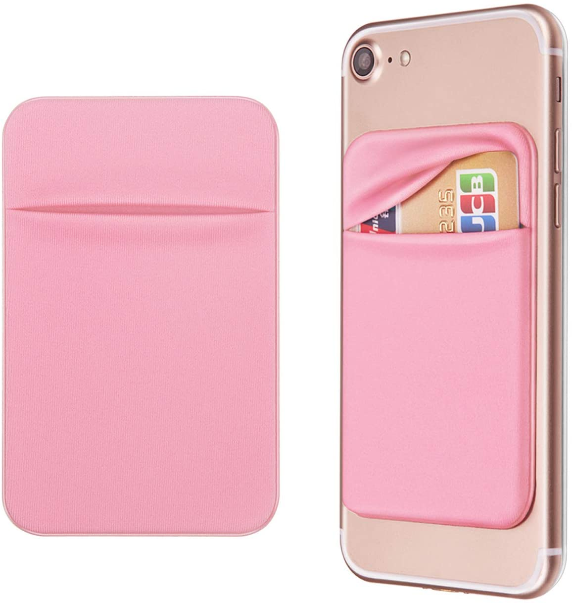 OBVIS Cell Phone Pocket Self Adhesive Card Holder Stick On Wallet Sleeve with 3M Adhesive RFID Card ID Credit Card ATM Card Holder for iPhone Android 2 Pack Pink