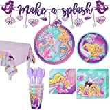 Party City Iridescent Barbie Mermaid 59 Piece Kids Birthday Party Supplies for 8 Guests, Include Plates, Napkins, and Decorations