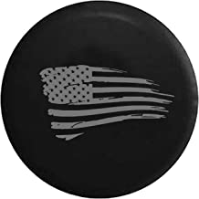 Waving American Flag Military Spare Tire Cover fits SUV Camper RV Accessories Gray Ink 35 in