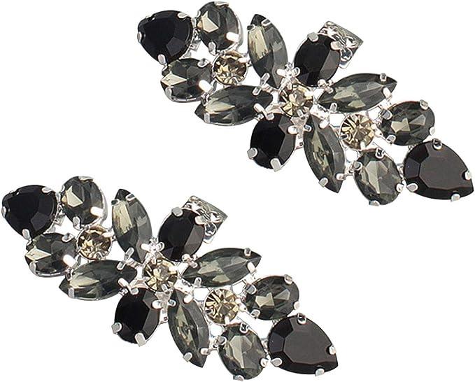 Xdodnev A Pair of Fashion Shoe Clips Acrylic Rhinestone Alloy Glass Wedding Boot Jewelry