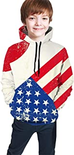 Flag of Japan and The USA Kids/Teen Girls' Boys' Hoodie,3D Print Pullover Sweatshirts