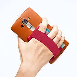 Sinjimoru Phone Grip Card Holder, Cell Phone Wallet Sticker for Back of Phone with iPhone Finger Gripper Storing Credit Cards, ID Holder Card Wallet. Sinji Pouch Band, Red