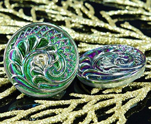 1pc Handmade Czech Glass Button Spiral Flower Leaf Large Green Dichroic Vitrail Silver Size 12, 27mm