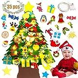 Fansport Árbol de Navidad Fieltro,4FT Árbol de Navidad DIY con 50 Luces LED 35 Unids Adornos Navidad Desmontables para Niños Regalo de Navidad