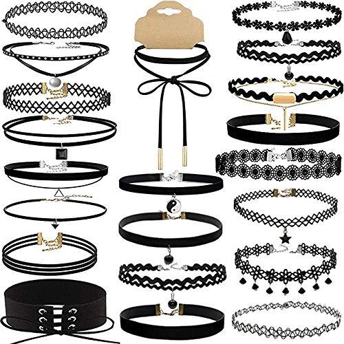 AODOOR 21PCS Choker Halsband Set, Choker Halsketten/Halsband Tattoo Ketten/Velvet Choker Kette/Gothic Halskette, Schwarz Halsband Spitze Choker für Damen Mädchen Party Kleid Dekorationen- Verstellbar