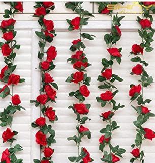 ShinyBeauty Flower Garland Red Rose 3PC 19.5Feet Ivy Artificial Flowers Silk Artificial Ivy Vines Vining Flowering Plant