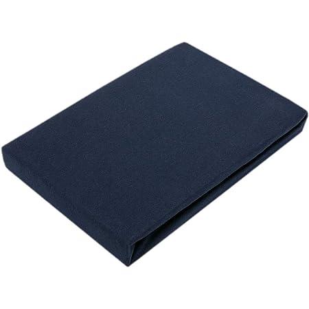 Drap-housse en jersey de qualité supérieure avec élastique, Coton, Bleu marine, 120 x 200 cm