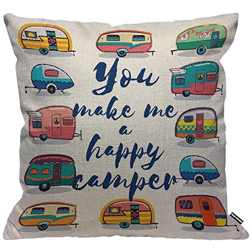 HGOD DESIGNS Cushion Cover You Make Me A Happy Camper Car,Throw Pillow Case Home Decorative for Men/Women Living Room Bedroom Sofa Chair 18X18 Inch Pillowcase 45X45cm