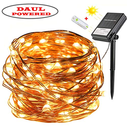 KooPower Solar and Battery Daul Powered Fairy Lights, [8 Modes and Timer] 100 LEDs 10m Outdoor Waterproof Copper String Lights for Christmas, Wedding, Party, Garden, Patio, Yard, Pathway (Warm White)