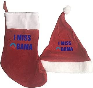 Christmas Decorations Sets 2 Pcs I Miss Obama Christmas Hats and Christmas Stockings Red
