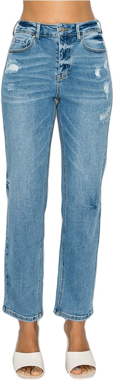 Love Moda Women's High Waist Slim Span Jeans Straight San Jose Mall Denim with Memphis Mall