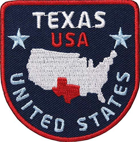 2 x Texas USA Aufnäher gestickt 62 mm / Amerika Trekking Reise State Star texanisch Dallas / Patch Aufbügler Flicken Patches zum Aufbügeln Aufnähen auf Kleidung Jacke Rucksack / Reiseführer Wohnmobil