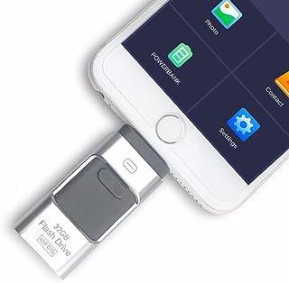 Adaptador de almacenamiento de unidad de memoria USB 3.0 OTG 3 en 1, de unidad USB para celular iPhone Android, computadoras, Plateado, 256GB