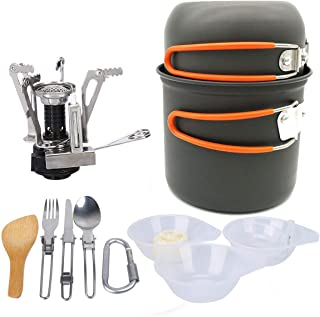 Outdoor supplies picnic cookware, portable stainless steel camping alcohol stove, camping set pot 1-2 people camping pot combination-orange
