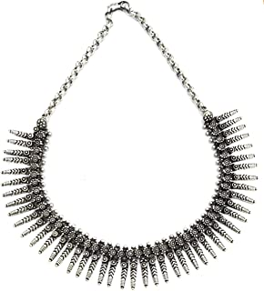 Indian Ethnic Necklace in Tribal Design with Oxidised Silver Beads for Garba Navratri Diwali Pujo Onam Oxidised Silver Necklace Choker Women Fashion